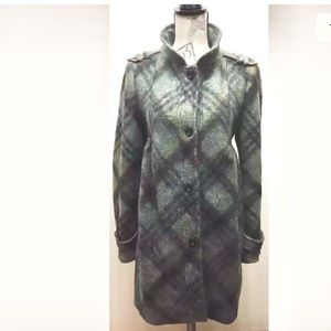 Zara Women Wool Coat Green/ Black Plaid L